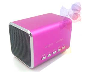 Music Angel Mini Speaker Model JH-MD05 play mp3 from Micro SD/TF memory (Pink Color)